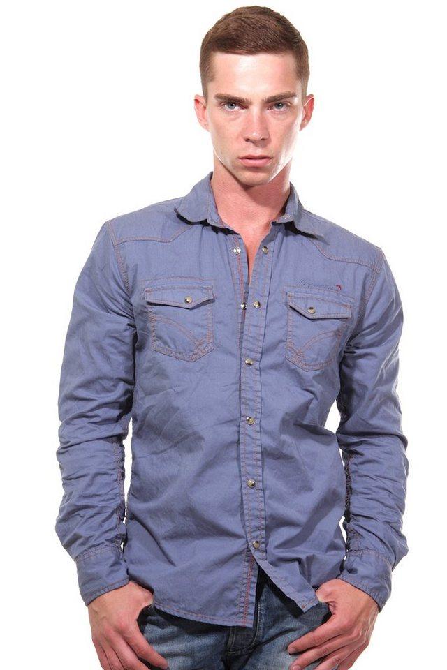 CAZADOR Langarmhemd regular fit in blau