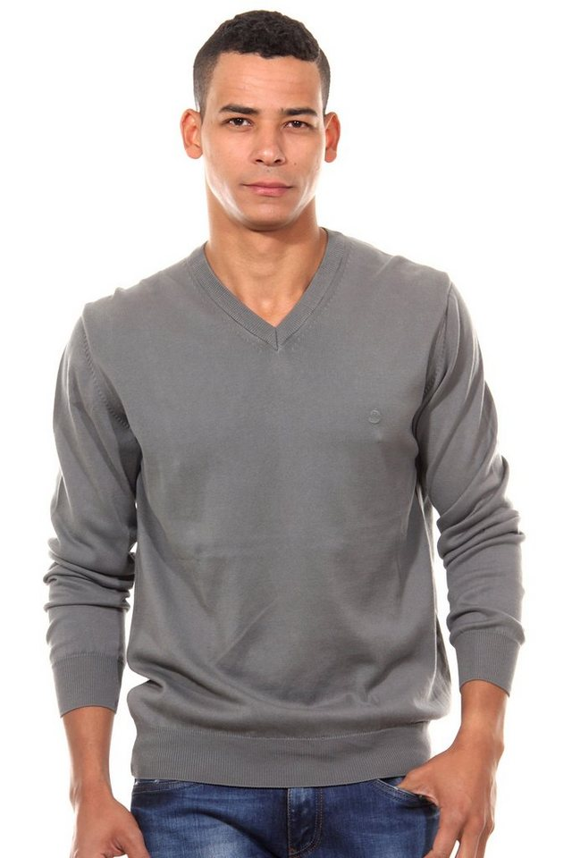 CAZADOR Pullover V-Ausschnitt regular fit in dunkelgrau