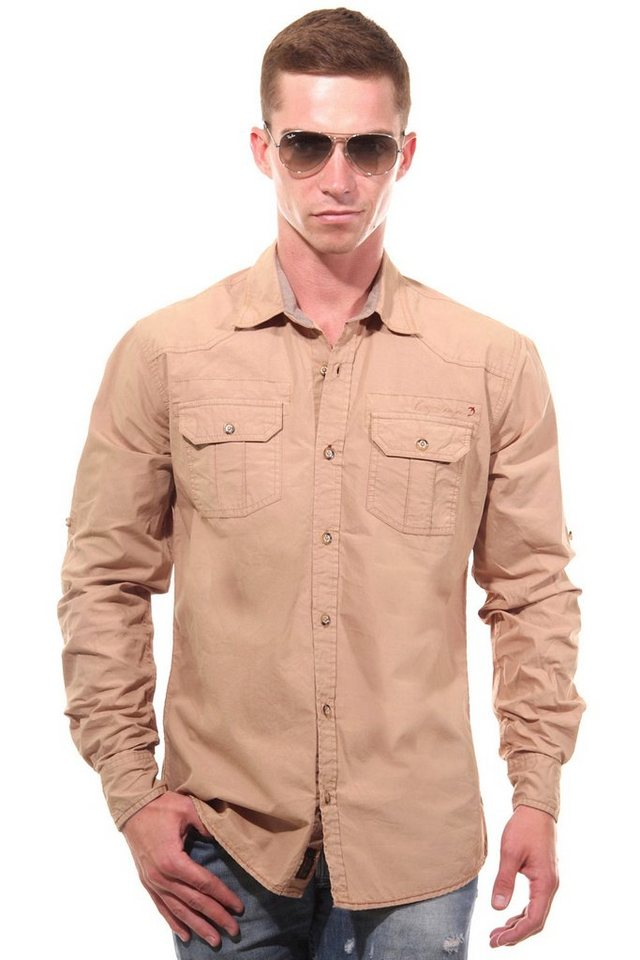 CAZADOR Langarmhemd regular fit in dunkelkhaki