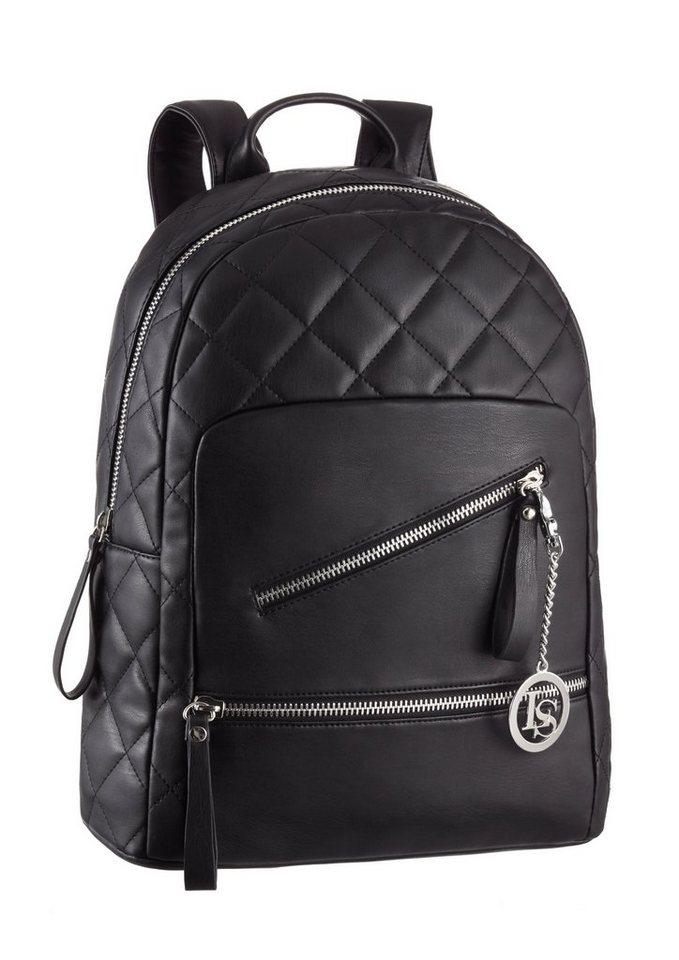 Laura Scott Cityrucksack mit Steppung und Zippern in schwarz