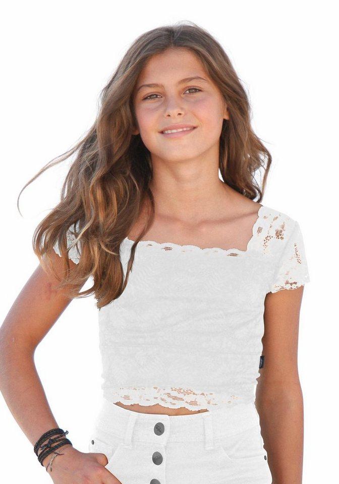 Arizona Top bauchfrei, mit Spitze, für Mädchen in Weiß