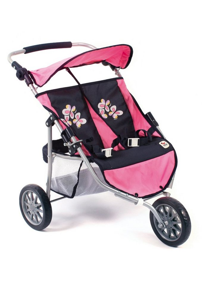 CHIC 2000, 3-Rad-Puppen-Buggy »Zwillings-Jogger, pink checker«