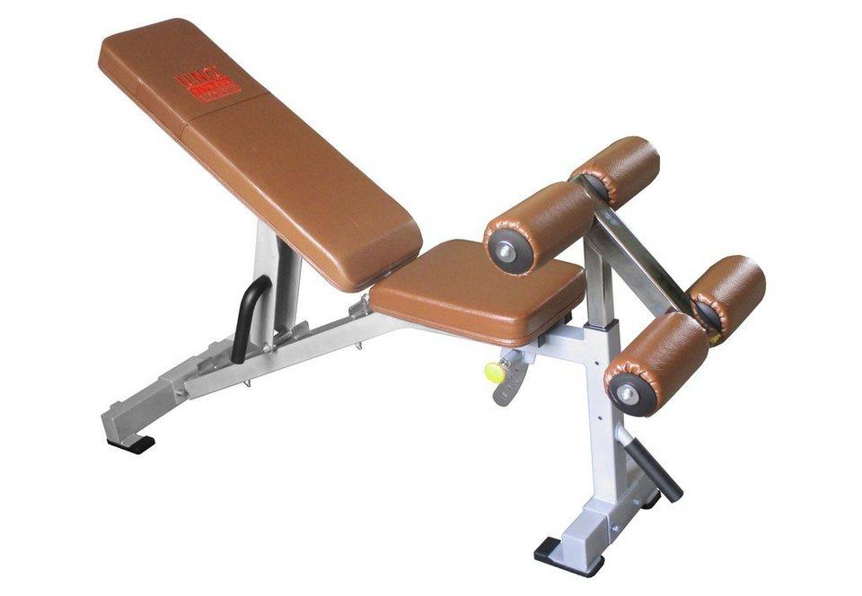 Trainingsbank, mehrfach verstellbar, »STR1200«, Strength by U.N.O. Fitness in silber-grau, braun