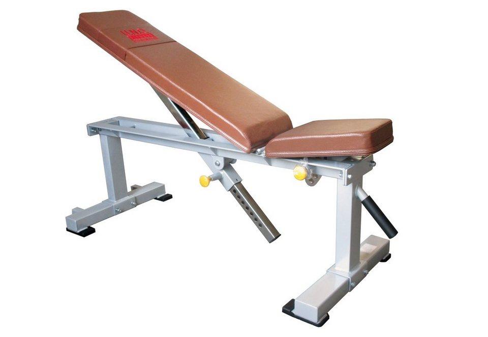 Flachbank, verstellbar, »STR1000«, Strength by U.N.O. Fitness in silber-grau, braun