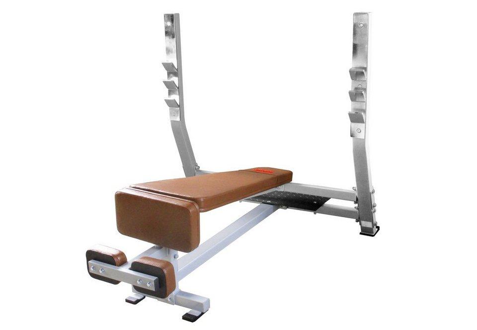 Schrägbank, negativ, mit integrierter Hantelablage, »STR1300«, Strength by U.N.O. Fitness in silber-grau, braun