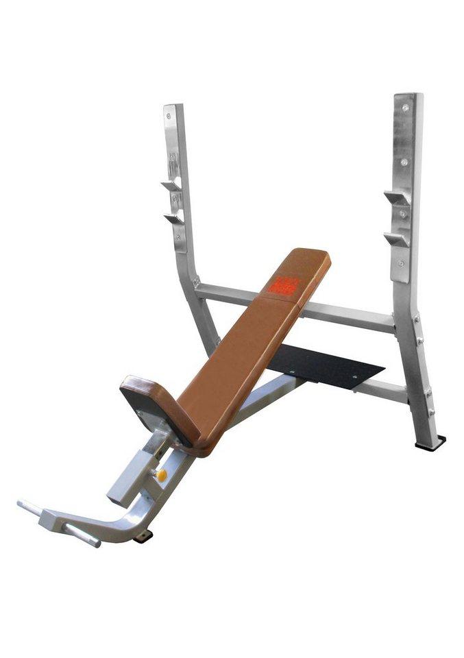 Schrägbank, positive, mit integrierter Hantelablage, »STR1400«, Strength by U.N.O. Fitness in silber-grau, braun