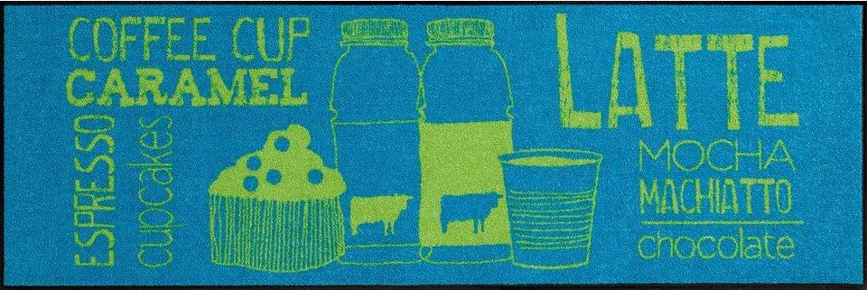 Küchenläufer, Salonloewe, »Coffeehouse«, waschbar, In- und Outdoor, rutschhemmende Beschichtung in Blau