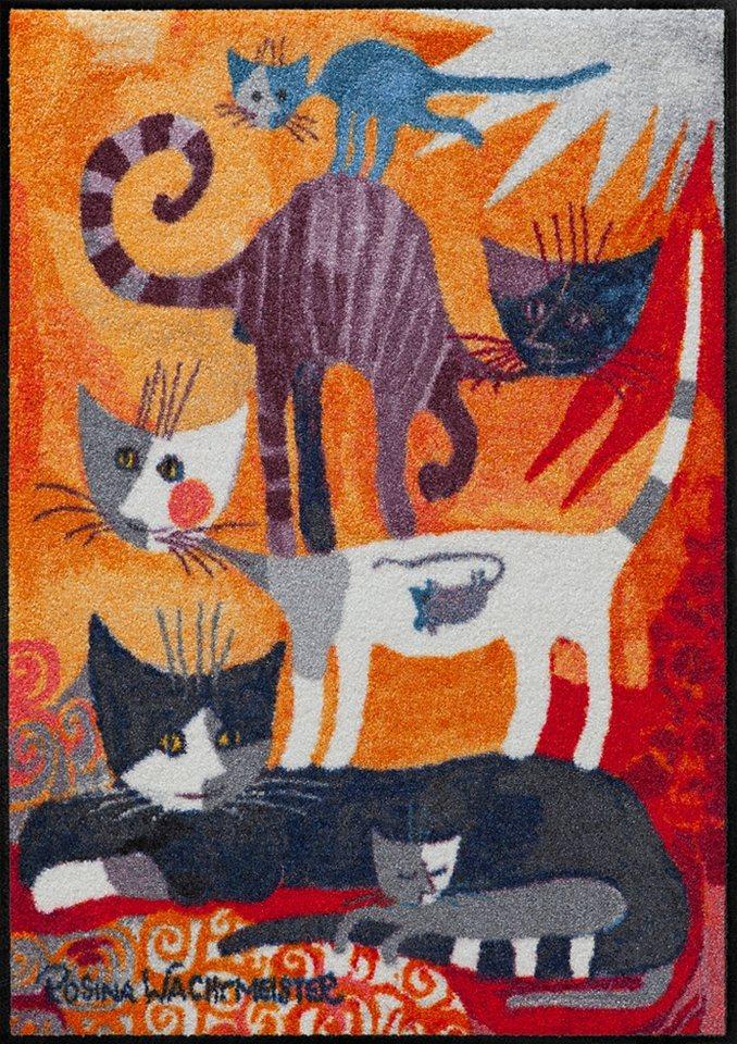 Fußmatte, Rosina Wachtmeister, »Katzenturm«, waschbar, In- und Outdoor, mit Katzenmotiv in Bunt