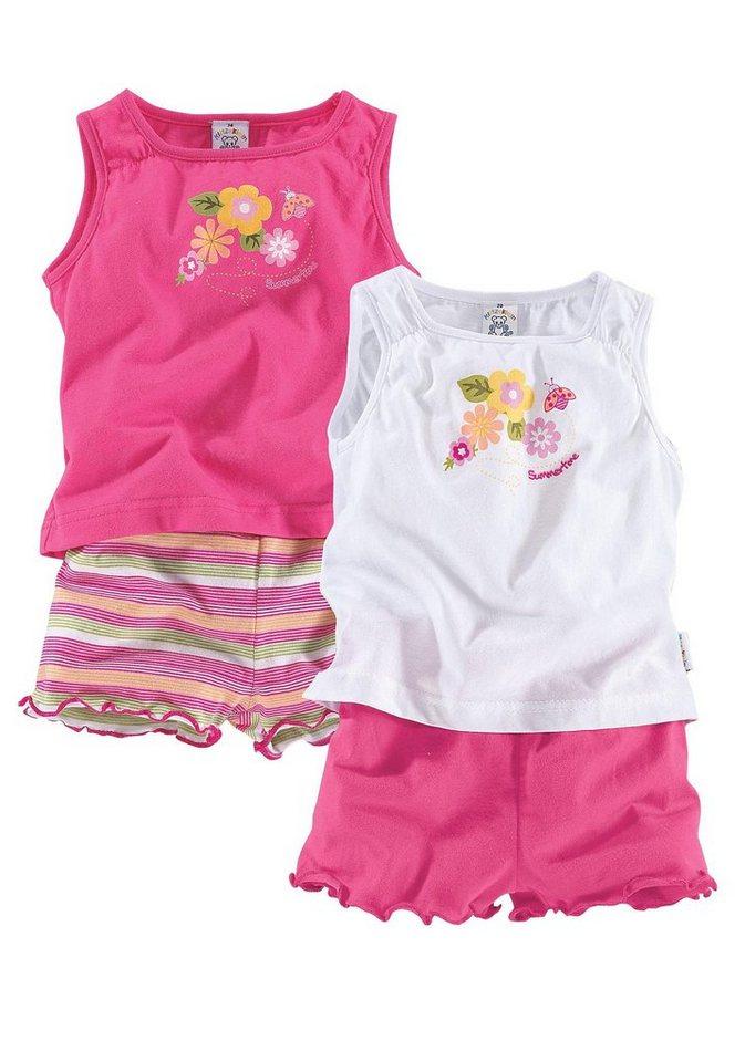 Klitzeklein T-Shirt & Shorts (Packung, 4 tlg.) in pink+weiß+gestreift