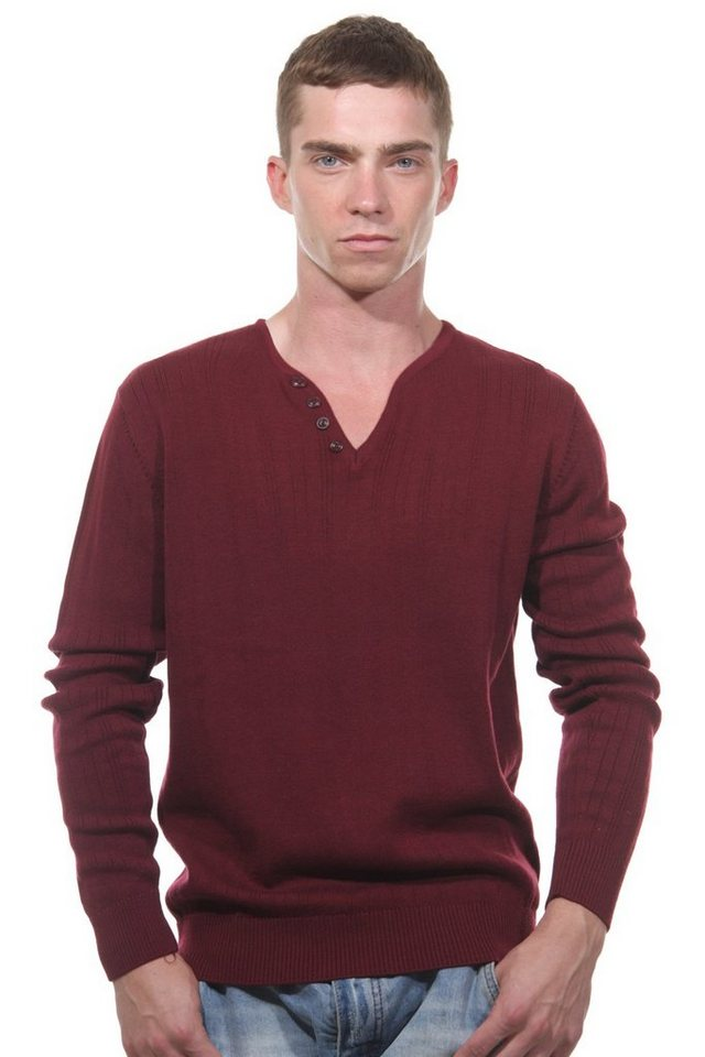 MCL Pullover V-Ausschnitt slim fit in bordeaux