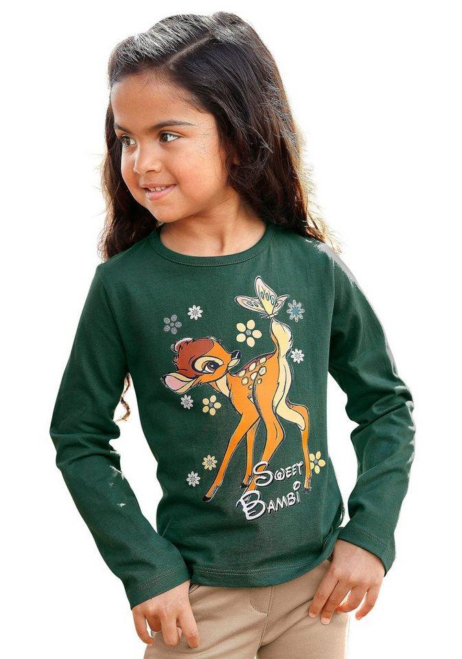 Disney Langarmshirt mit Bambi-Druck in grün