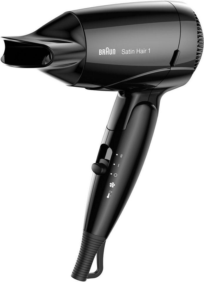 Braun Haartrockner Satin Hair 1 HD 130, Style&Go, Klappbarer Reisefön in schwarz