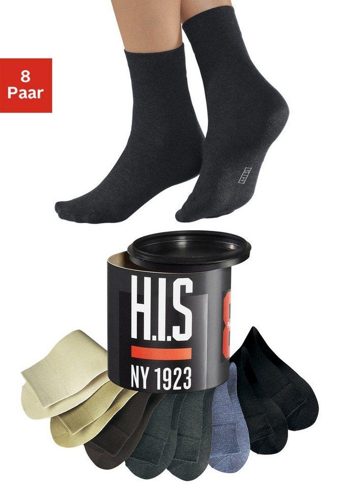 H.I.S Socken (8 Paar) Erdtöne in der Geschenkdose in 8x bunt