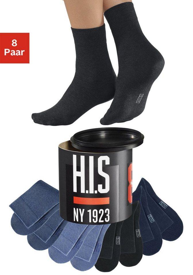 H.I.S Socken (8 Paar) Jeanstöne in der Geschenkdose in je 2x schwarz+marine+jeansmel.+dunkeljeans mel.