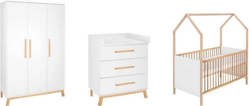Schardt Babyzimmer-Komplettset »Sienna«, (Set, 3-St), Made in Germany; mit Hausbett, Schrank und Wickelkommode