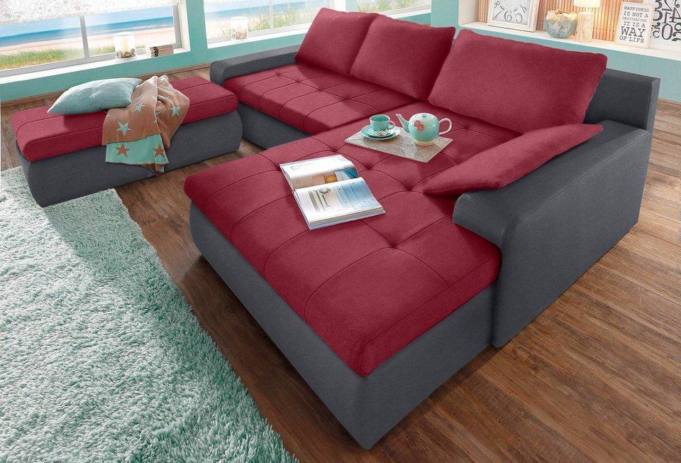 Polsterecke, Sit & More, wahlweise in XL oder XXL in grau/bordeaux