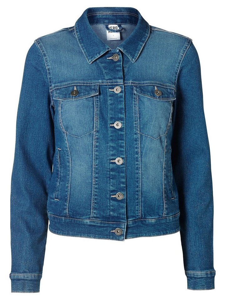 Vero Moda Langärmelige Jeansjacke in Medium Blue Denim