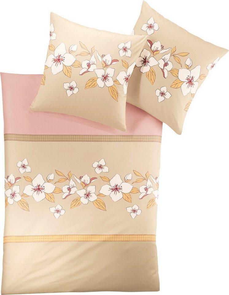 Bettwäsche, Irisette, »Davos 8034«, mit Blüten in beige-rosa