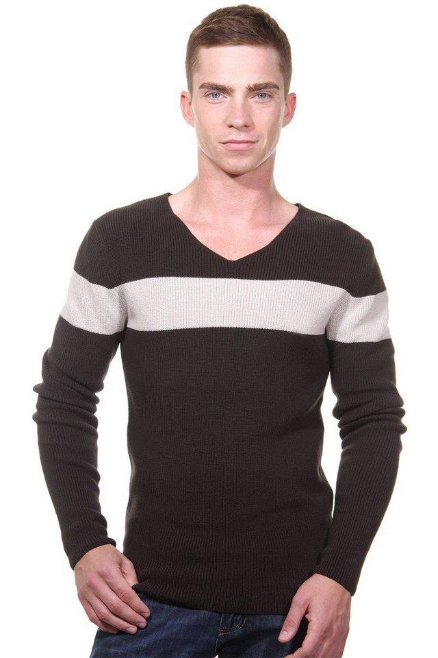 MCL Pullover V-Ausschnitt slim fit in braun