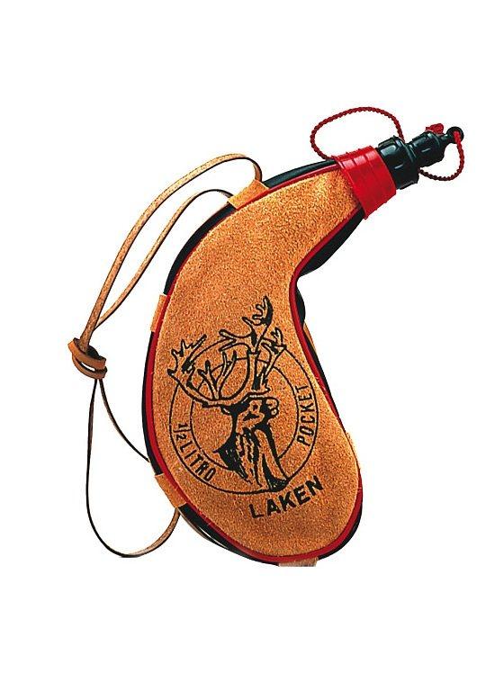 Feldflasche, Nieren-Form, Laken® in braun