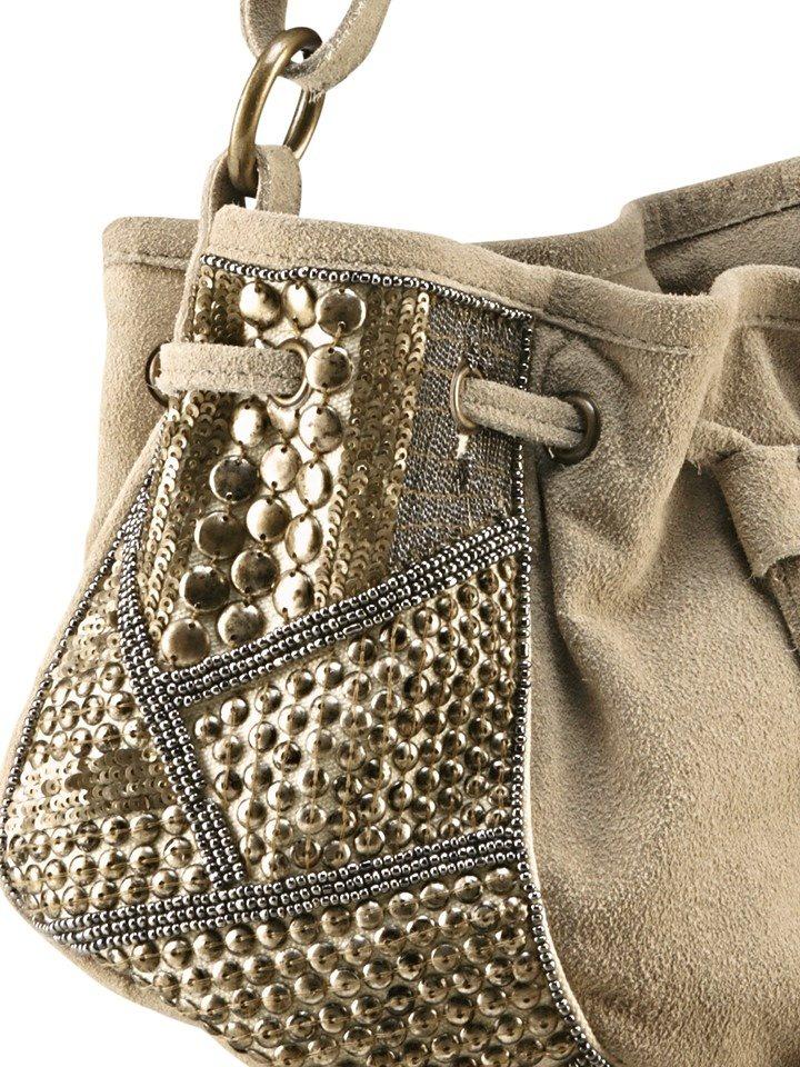 Tasche in beige/antikgoldfarben