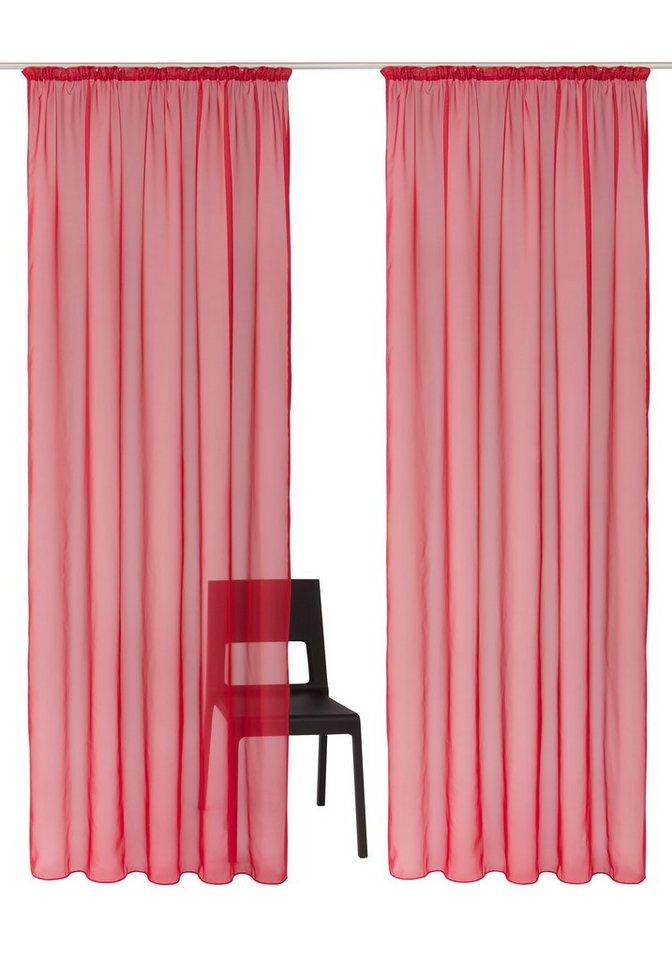 Gardine, my home, »Xanten«, mit Kräuselband (2 Stück) in rot