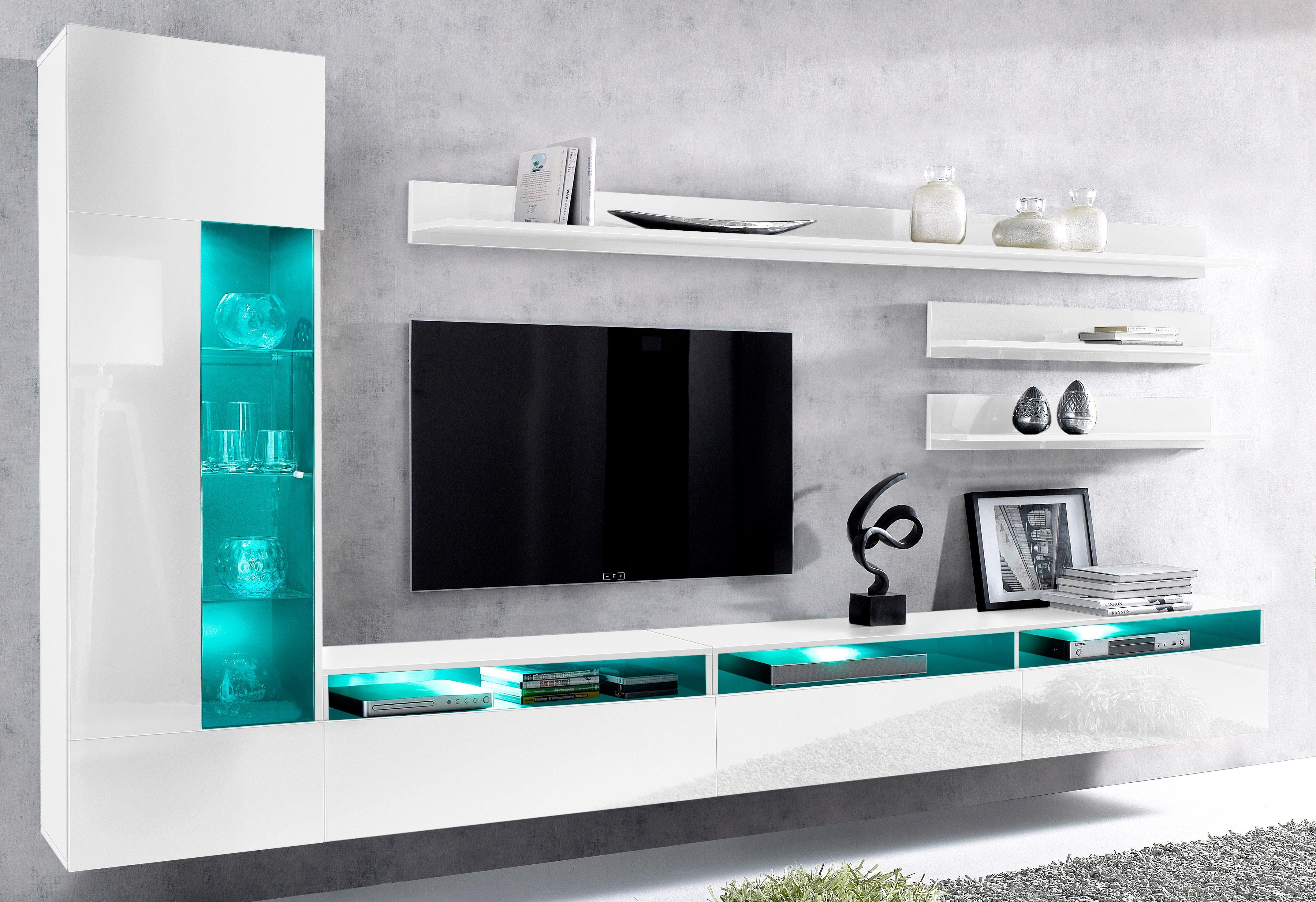 Tv lowboard design wohnwand galaxy mirage hochglanz board hifi