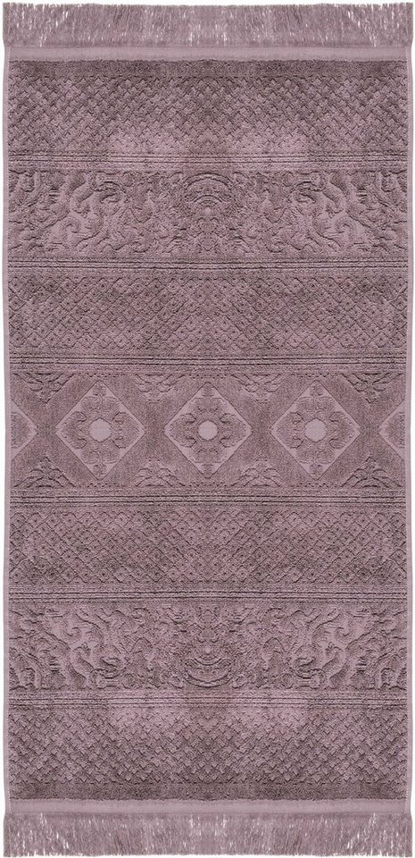 Badetuch, Pad, »Harlem«, mit floralen Elementen in violett
