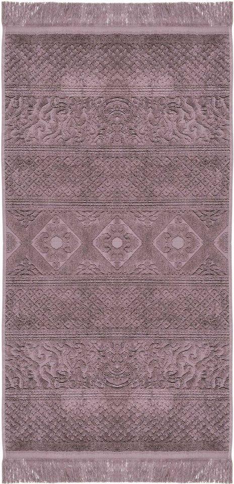 Handtücher, Pad, »Harlem«, mit floralen Elementen in violett
