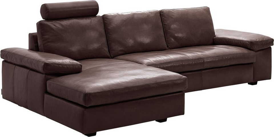 machalke® Polsterecke »concept101-M«, mit Holzfüßen, Recamiere wahlweise links oder rechts in dunkelbraun