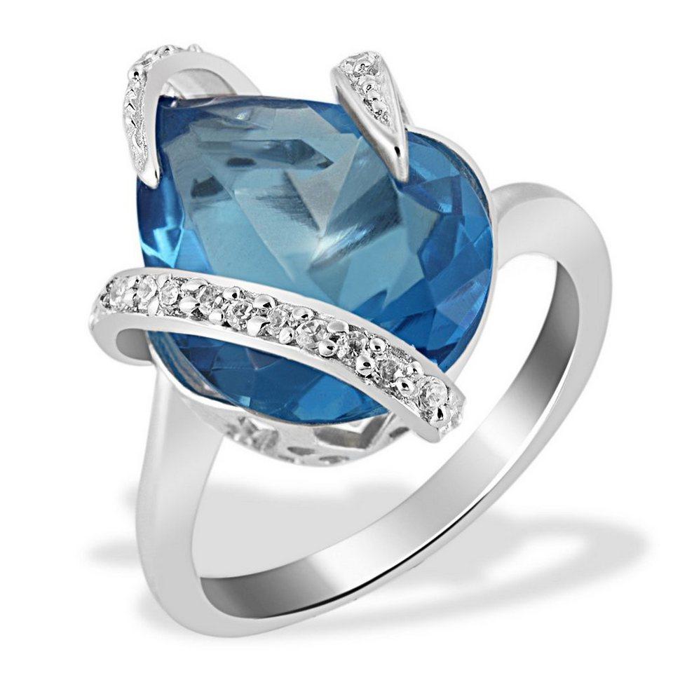 Averdin Damenring Silber 925/- blauer und weisse Zirkonia Tropfen in silberfarben