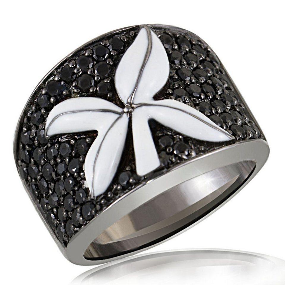 Averdin Damenring Silber 925/- mit Emailblume und schwarzen Zirkonia in schwarz rhodiniert