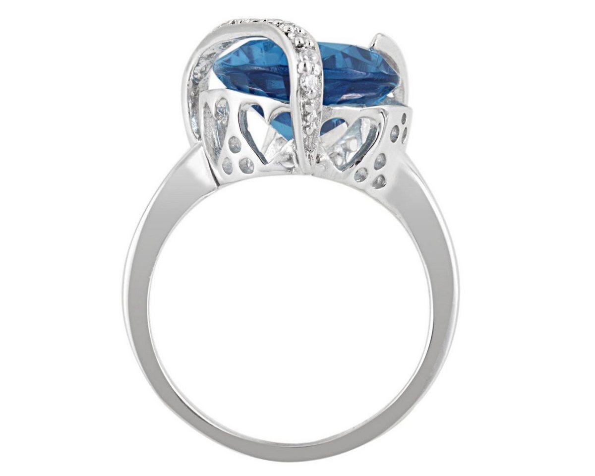 Averdin Damenring Silber 925/- blauer und weisse Zirkonia Tropfen