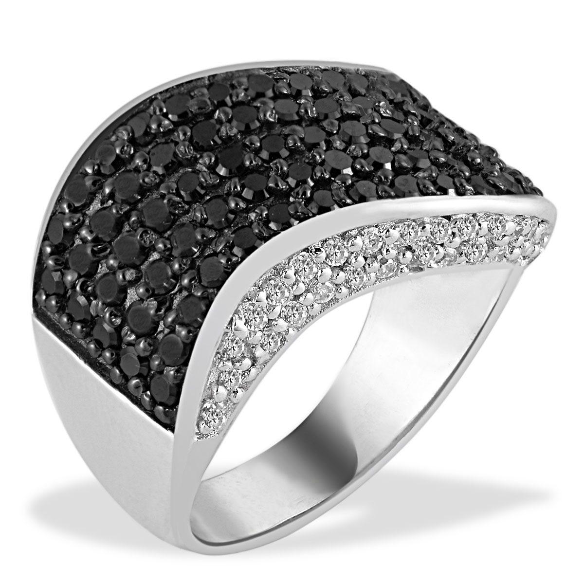 Averdin Damenring Silber 925/- schwarz weisse Zirkonia