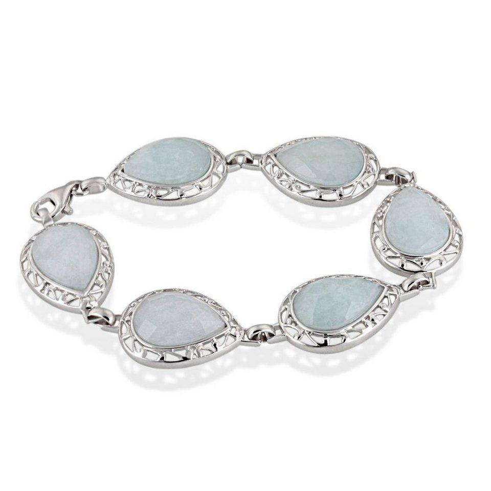 Averdin Armband 925/- Sterlingsilber 6 blaue Aquamarine in silberfarben