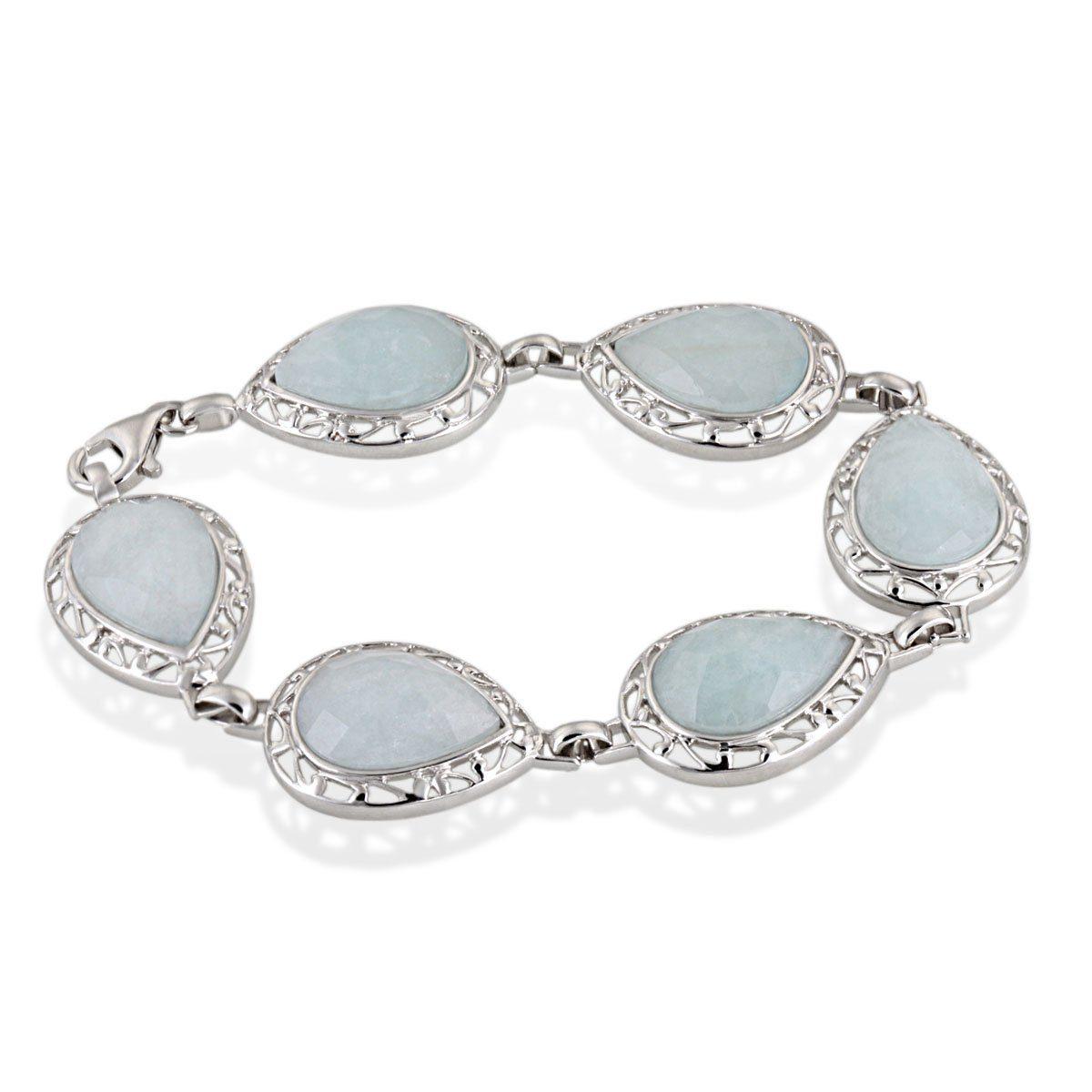 Averdin Armband 925/- Sterlingsilber 6 blaue Aquamarine