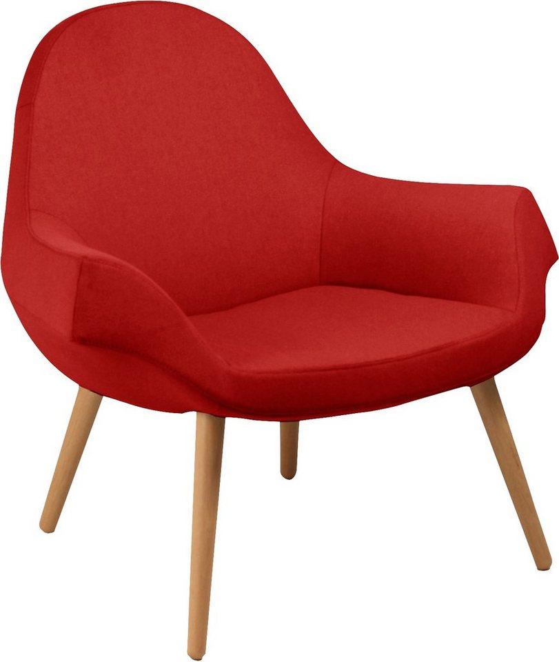 andas Sessel »Fredo«, im Scandinavian Design, mit Holzfüßen in rot