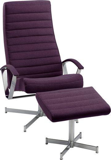 KEBE TV-Sessel »Bern«, mit Hocker, mit verchromten Drehfüßen