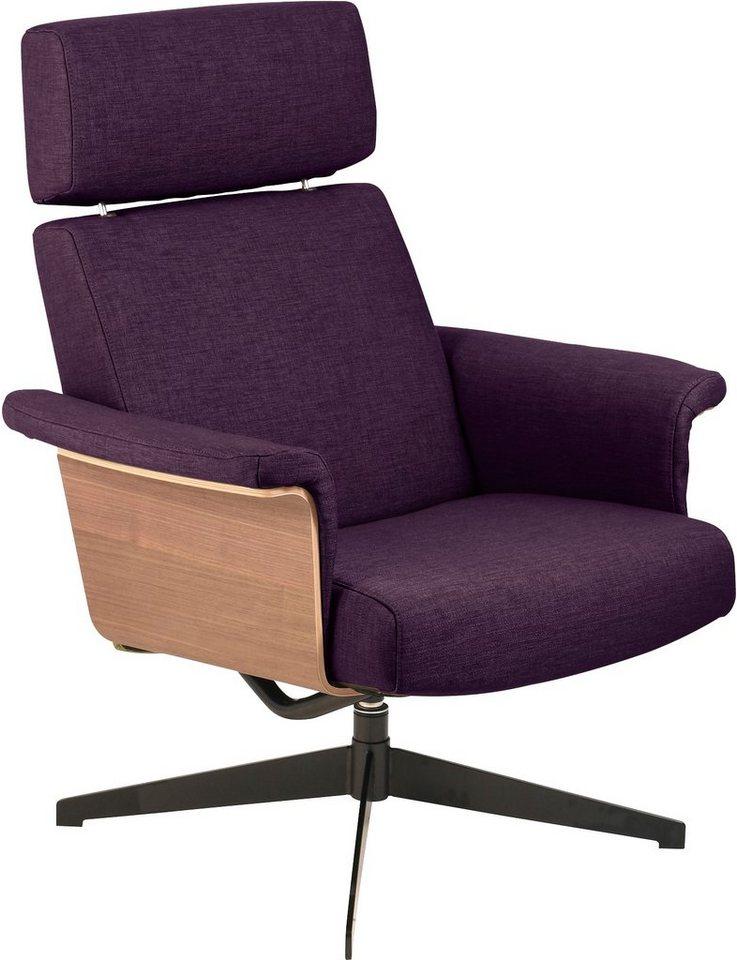 andas Relaxsessel »Baron«, mit Holzelement in der Sitzfläche und Drehfuß in purple