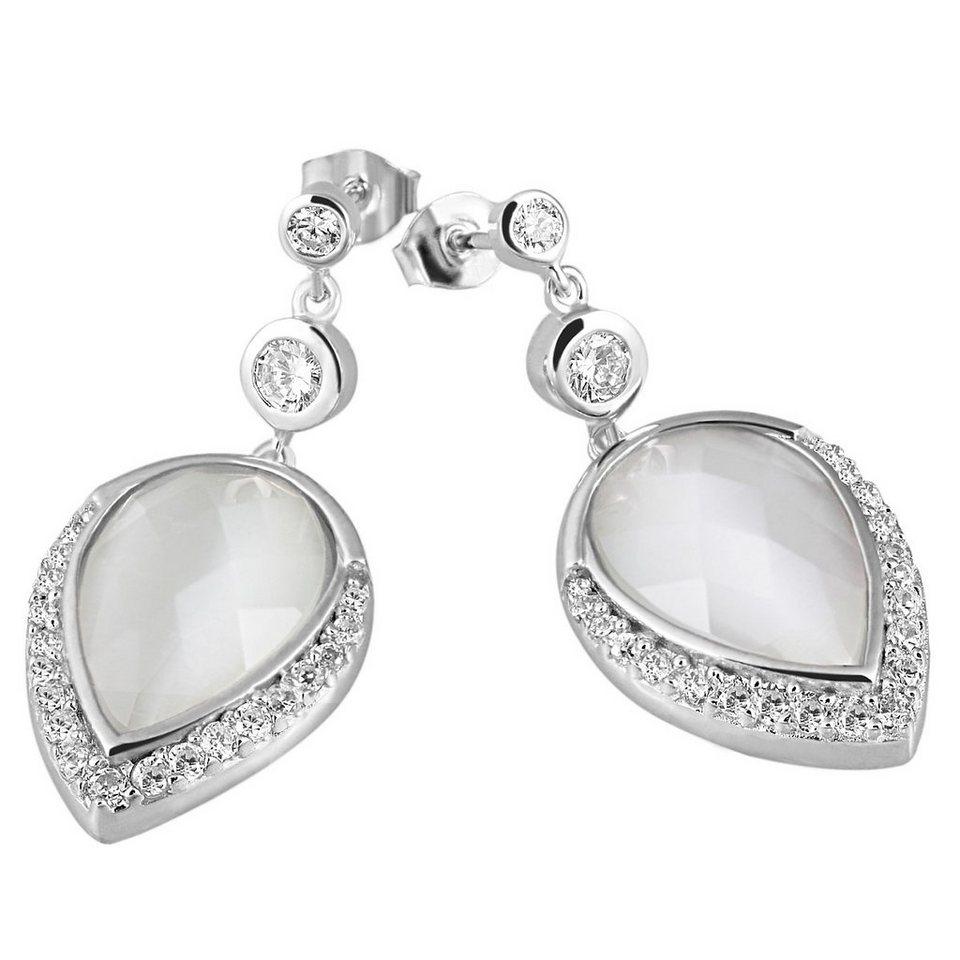 Averdin Paar Ohrhänger Silber 925/- Glassteine Tropfen klare Zirkonia in silberfarben