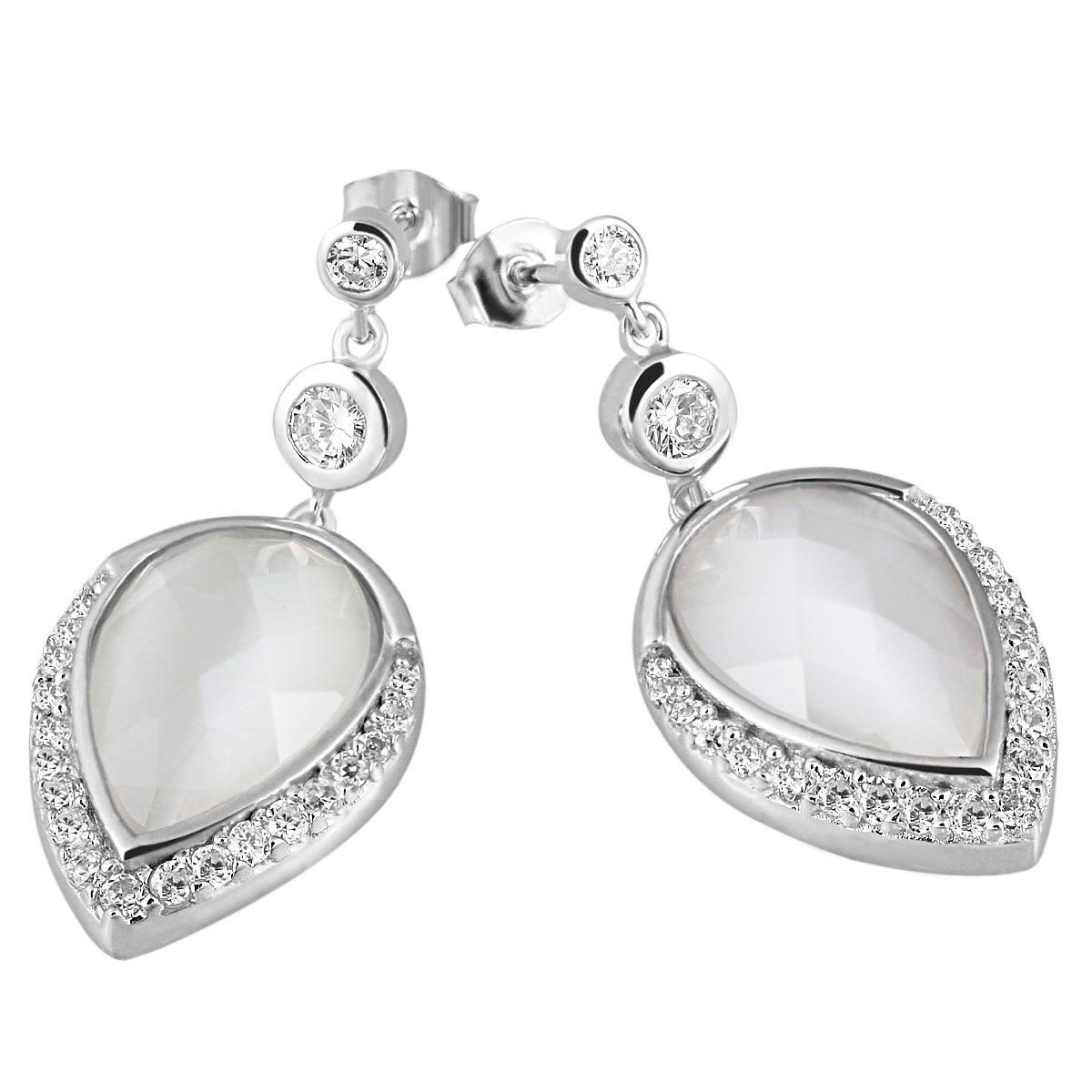 Averdin Paar Ohrhänger Silber 925/- Glassteine Tropfen klare Zirkonia