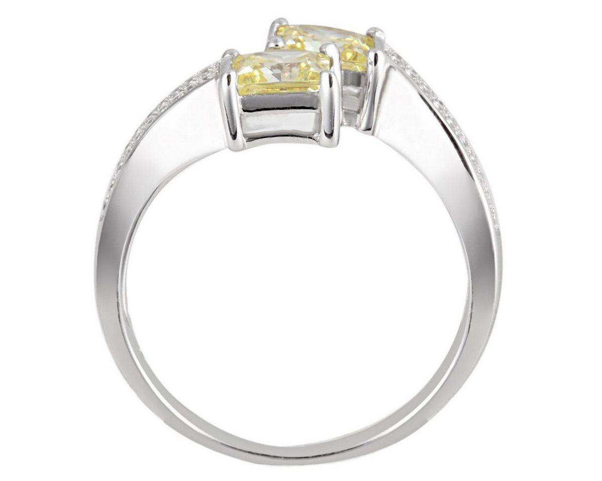 Averdin Damenring Silber 925 gelbe und weisse Zirkonia Fantasy