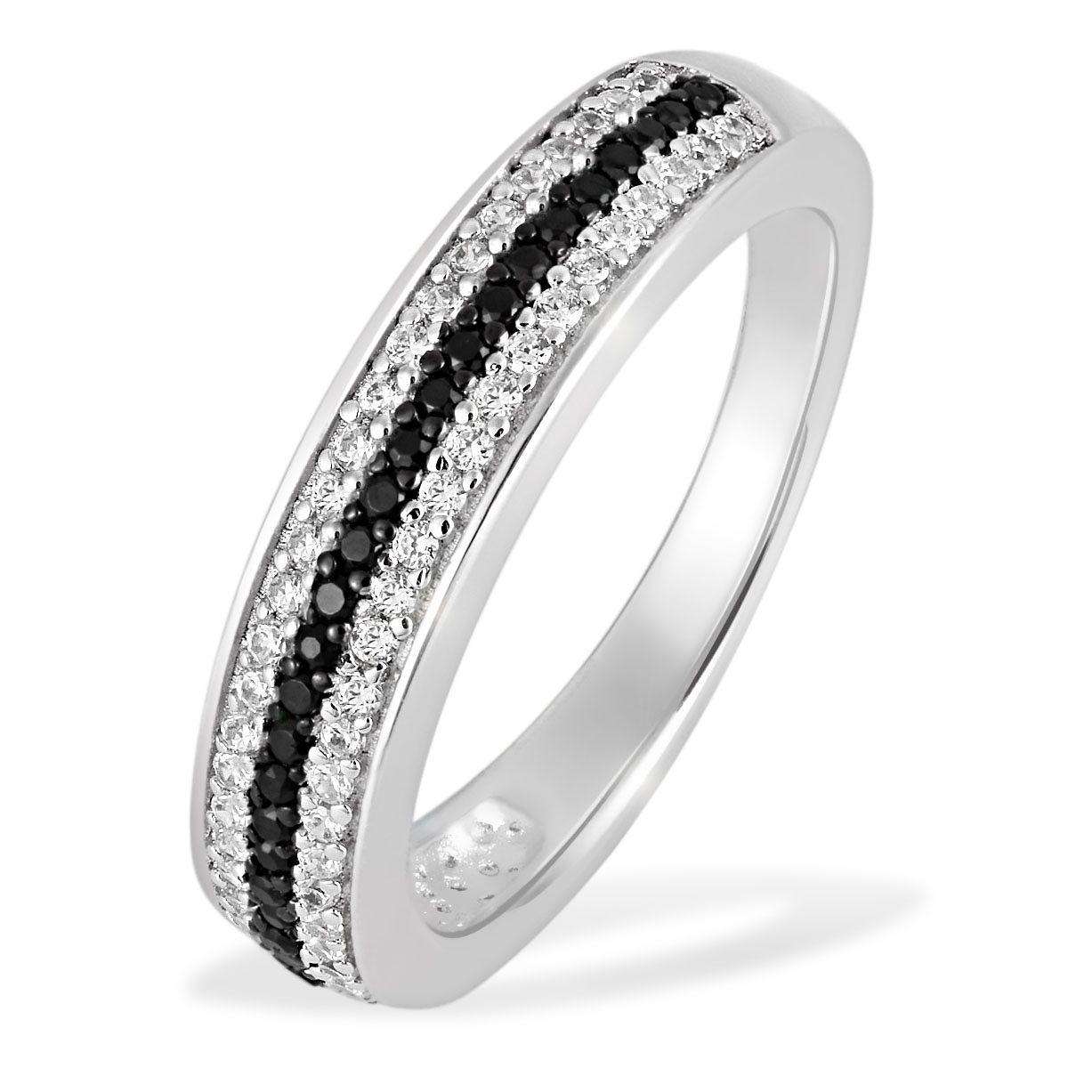 Averdin Damenring Silber 925/- schwarz weiße Zirkonia PremiumShine