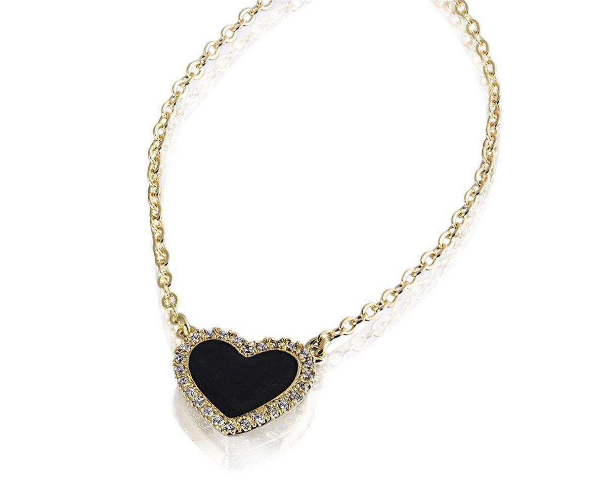 Averdin Collier Herz mit schwarzem Lack 26 Zirkonia