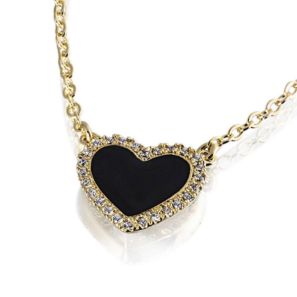 Averdin Collier Herz mit schwarzem Lack 26 Zirkonia in goldfarben