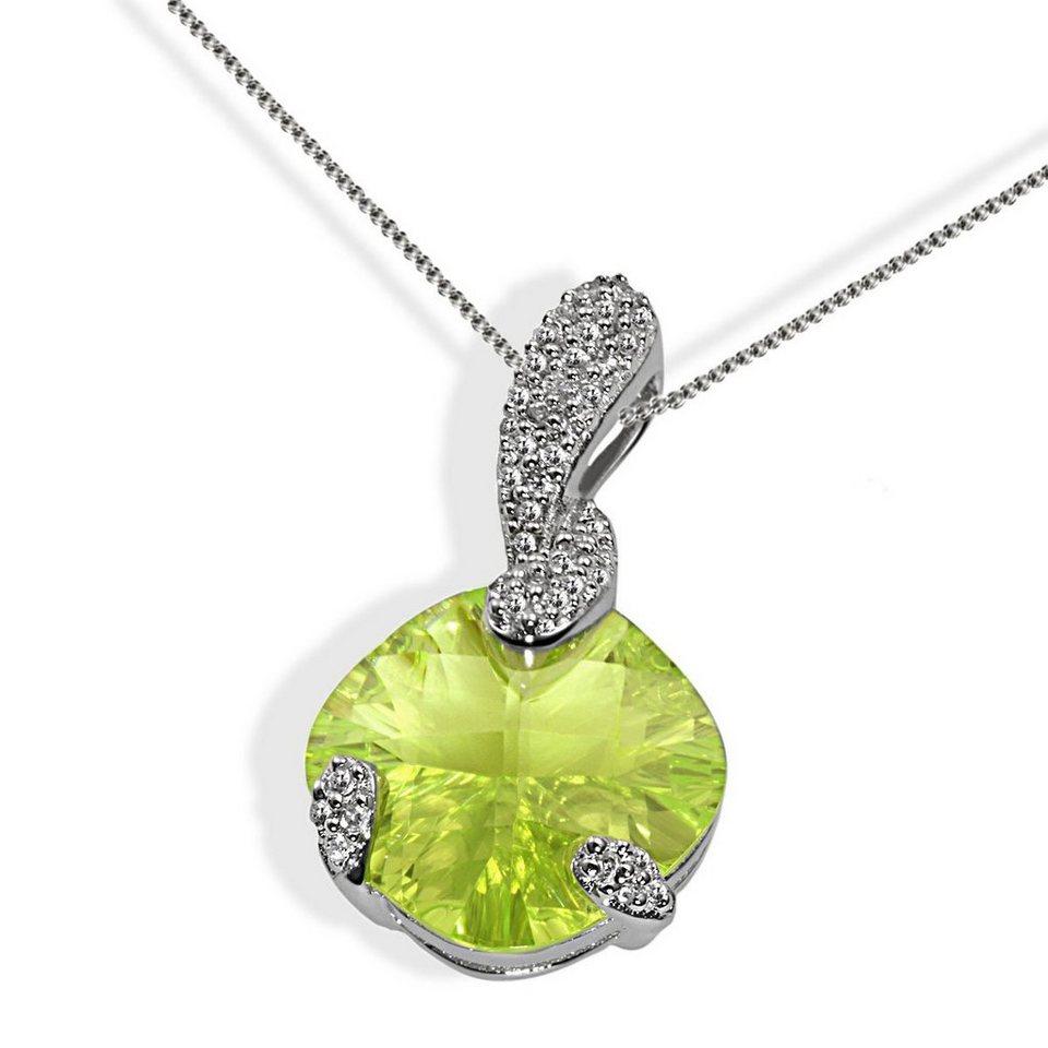 goldmaid Collier Silber 925/- hellgrüner und klare Zirkonia oval in silberfarben
