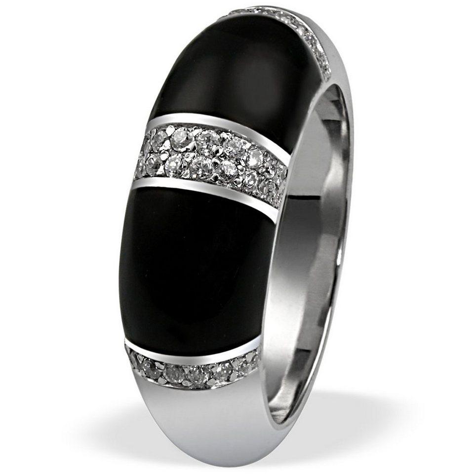 Averdin Damenring Silber 925/- Zirkonia schwarze Flächen massiv in silberfarben