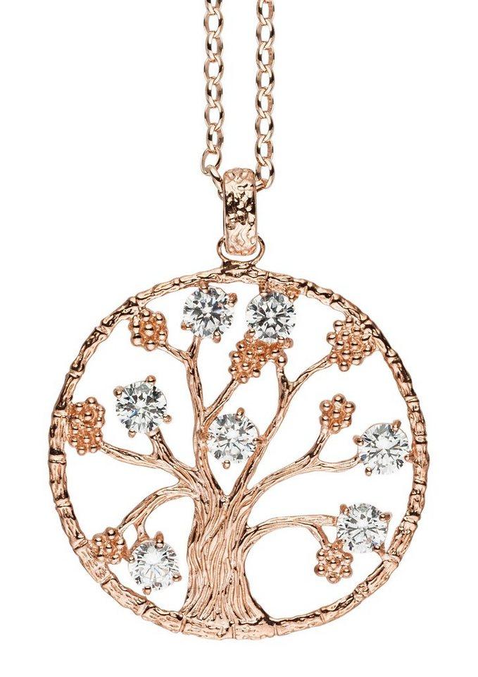 Julie Julsen Halsschmuck: Anhänger mit Zirkonia »Lebensbaum, JJ7950.2« in Silber 925/roségoldfarben vergoldet