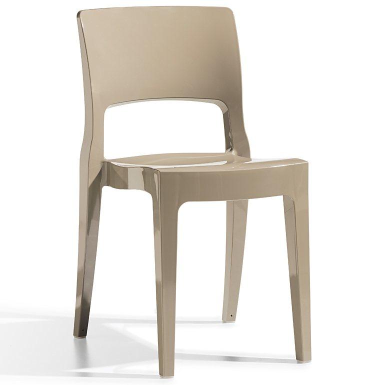 SalesFever Designer Stuhl aus Kunststoff stapelbar Hochglanz »Isy Technopolymer« in taubengrau