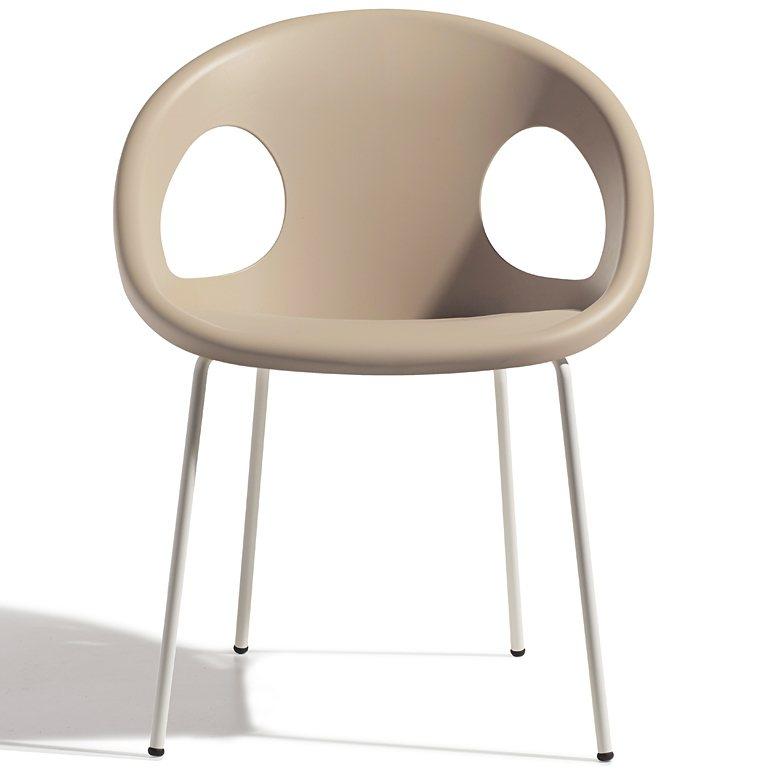 SalesFever Designer Stuhl mit lackierten Beinen »Drop 4 Legs Coated« in taubengrau/linen